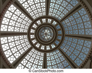 Looking upward at the Old Emporium dome - Looking upward at...