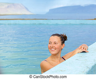 smiling woman in bathing suit - Smiling woman in bathing...