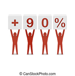 Men holding plus 90 percent. Concept 3D illustration.