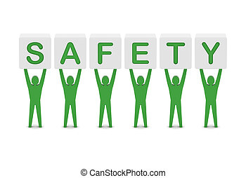 Men holding the word safety. Concept 3D illustration.