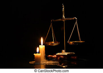 Scales Of Justice - Old brass weight scale near lighting...