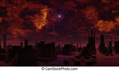 Gloomy city of aliens and UFO - In the heavy red sky bright...