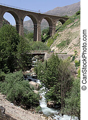 Bridges and river in village Bisheh, Iran