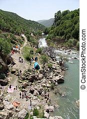 Camping near waterfall in Bisheh, Iran