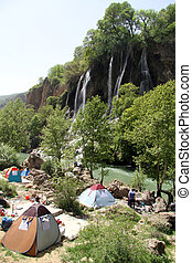 Camping near vaterfall in Bisheh village in Iran