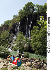 Camping near waterfall in village Bisheh, Iran