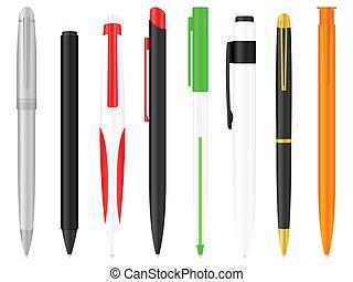 ballpoint pens set - Ballpoints set on a white background....
