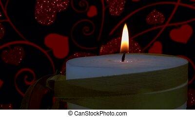 closeup candle in cute background.