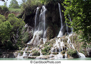 Wide waterfall near Bisheh village in Iran