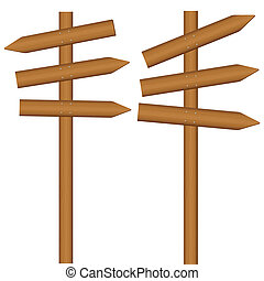 wooden sign post - Wooden sign post on a white background....