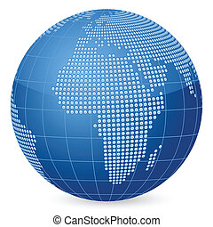 world globe dot - World globe formed by dots Vector...