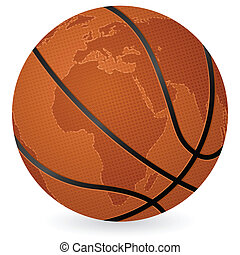 world map basketball ball
