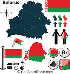 Map of Belarus - Vector of Belarus set with detailed country...