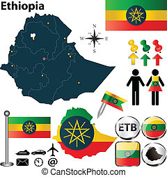 Map of Ethiopia - Vector of Ethiopia set with detailed...
