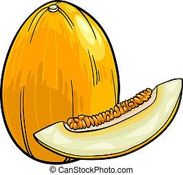 Melão, fruta, caricatura, Ilustração