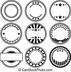 Rubber stamps - Vector set of empty rubber stamps with space...