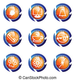 Glossy icon set - Set of 9 glossy web icons set 26 Isolated...