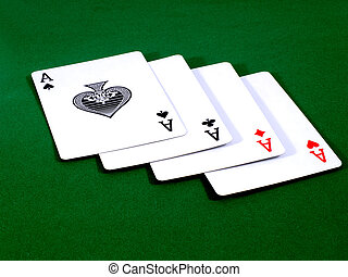 four aces 2 - A winning poker hand of four aces playing...