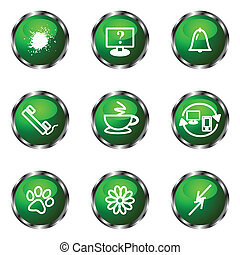 Glossy icon set - Set of 9 glossy web icons set 26 Green...