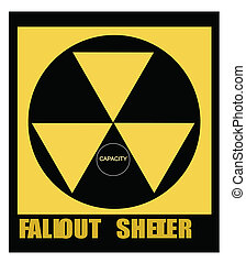 fallout shelter sign from atomic age during cold war