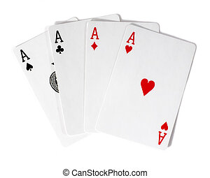 four aces 4 - A winning poker hand of four aces playing...