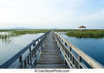 Wooden Bridge in lotus lake at khao sam roi yod national...