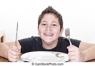Ready To Eat - Stock photo of a boy ready to eat