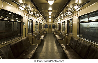 underground coach - old underground coach in  russian subway