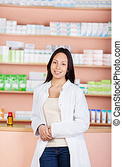 young female woman working in pharmacy