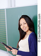 student using tablet-pc in classroom