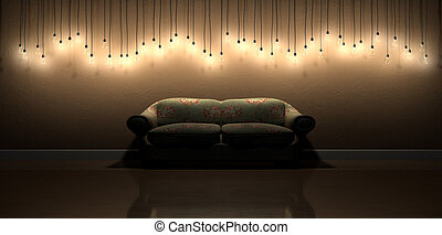 Light Bulb Hanging Wall Decoration In Room With Vintage...