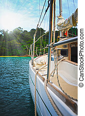 Yacht in the open sea - Image of a beautiful yacht in the...