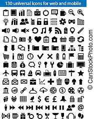 Web Icons - Set of 130 universal icons for web and mobile....