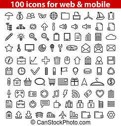 Web Icons - Set of 100 universal icons for web and mobile....