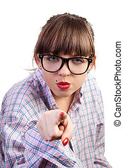 Angry Pointing Woman - The young girl, angry to point a...
