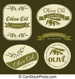 Olive oil vintage labels - Vintage Olive oil labels with...