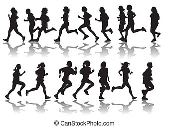 running women - vector drawing running a marathon women's...