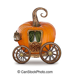 Pumpkin carriage isolated on white background