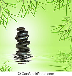 Zen Stability - Zen garden abstract of black spa massage...