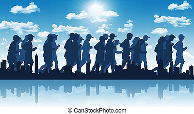 big city marathon on blue sky background - illustration of a...