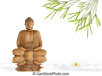 Zen Buddha Silence - Zen abstract of a buddha in prayer in a...