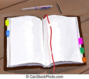 diary - the open notebook, the pen and the pencil