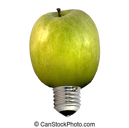 Apple bulb - A bulb in form of a green apple, concept of...