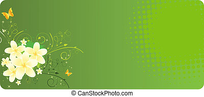 Green banner with plumeria