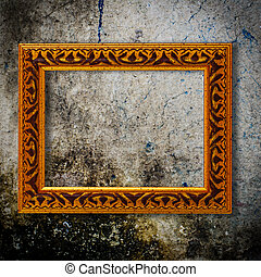 Retro wooden frame over grunge wallpaper