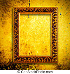 Retro wooden frame over gold grunge wallpaper