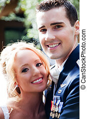 Newlywed Couple - A newlywed couple enjoy their wedding day...