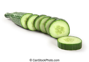 Cucumber sliced - Photo of a cucumber cut into thick slices...