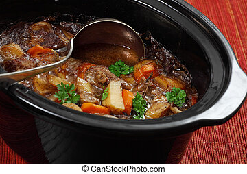 Irish stew in a slow cooker pot - Photo of Irish Stew or...