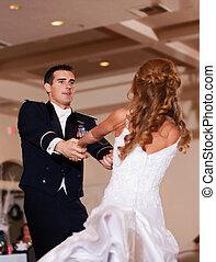 Newlywed First Dance - A newlywed couple enjoy their wedding...